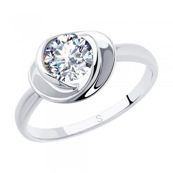Кольцо из серебра с фианитом, артикул 94012882