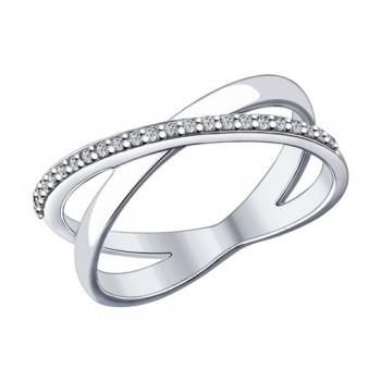 Кольцо из серебра с фианитами, артикул 94012051