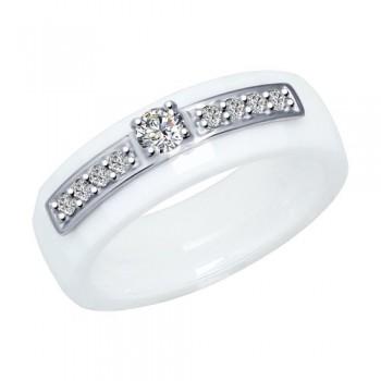 Кольцо из керамики с серебром и фианитами, артикул 94012091
