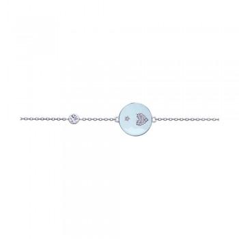 Браслет из серебра с эмалью и фианитами, артикул 94050487