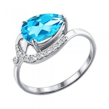 Кольцо из серебра с топазом и фианитами, артикул 92010277