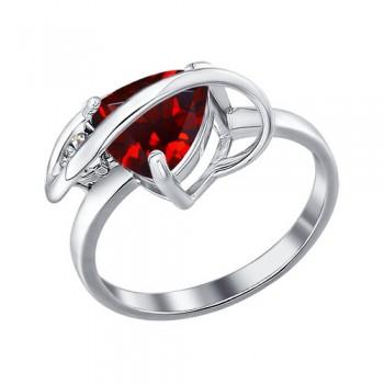 Кольцо из серебра с гранатом и фианитом, артикул 92010353