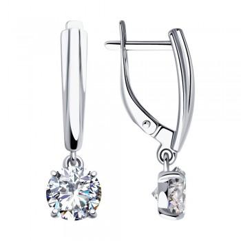 Серьги из серебра с фианитами, артикул 94023292