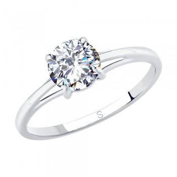 Кольцо из серебра с фианитом, артикул 94012845