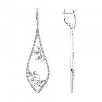 Серьги из серебра с фианитами, артикул 94023621