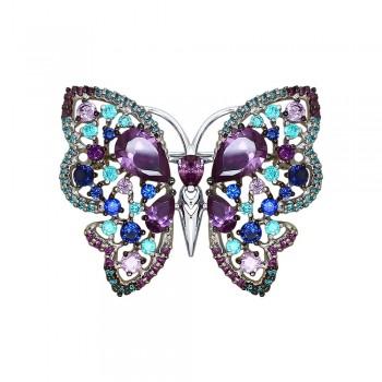 Брошь «Бабочка» с фианитами