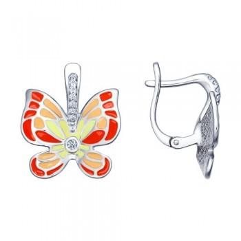 Серьги с яркими бабочками