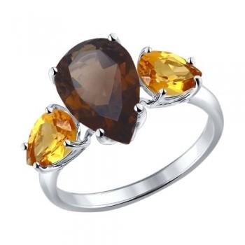 Кольцо из серебра с полудрагоценными вставками, артикул 92010999