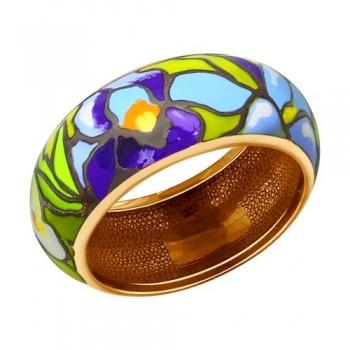 Кольцо из золочёного серебра с эмалью, артикул 93010507