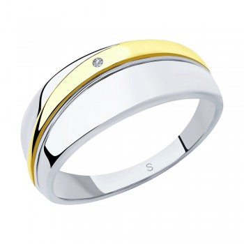Кольцо из золочёного серебра с бриллиантом, артикул 87010030