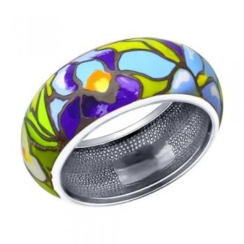 Кольцо из серебра с эмалью, артикул 94011936