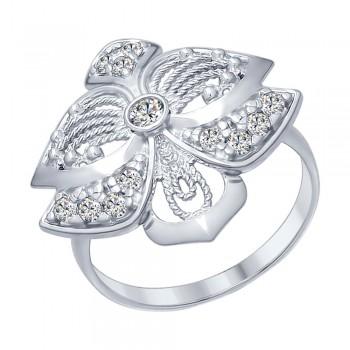 Кольцо из серебра с фианитами, артикул 94012291