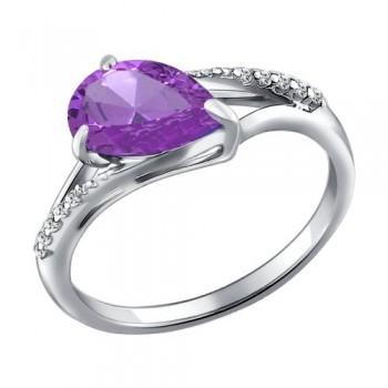 Кольцо из серебра с сиреневым ситаллом и фианитами, артикул 92011167