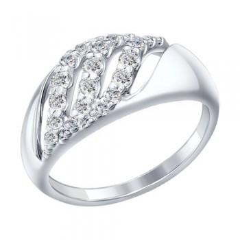 Кольцо из серебра с фианитами, артикул 94012085