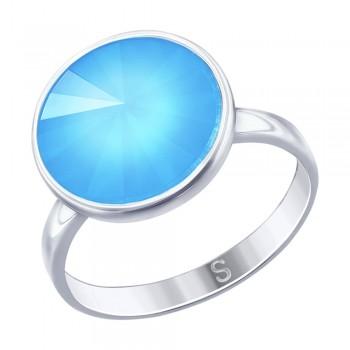 Кольцо из серебра с голубым кристаллом Swarovski, артикул 94012609