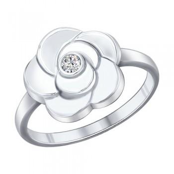Кольцо из серебра с фианитом, артикул 94011983