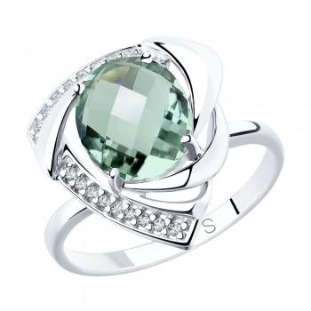 Кольцо из серебра с кварцем и фианитами, артикул 92011772