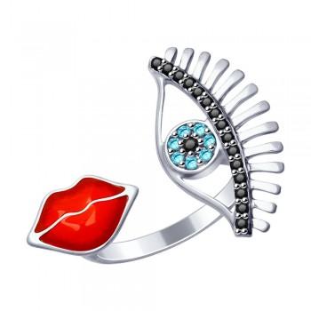 Кольцо из серебра с эмалью и фианитами, артикул 94012550