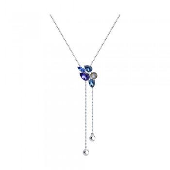Колье из серебра с голубыми и синим кристаллами Swarovski