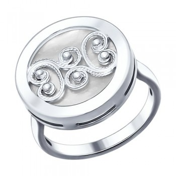 Кольцо из серебра с белым перламутром, артикул 94012049