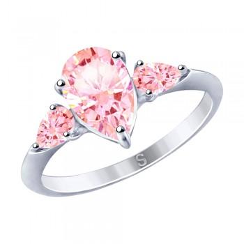 Кольцо из серебра с фианитами, артикул 94012751