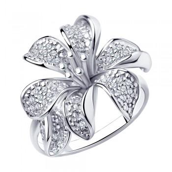 Кольцо из серебра с фианитами, артикул 94010675