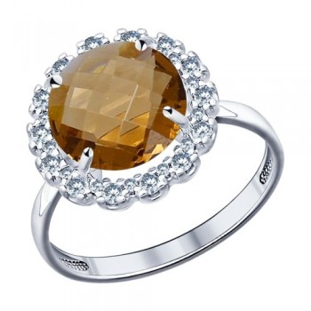 Кольцо из серебра с коричневой стеклянной вставкой и фианитами