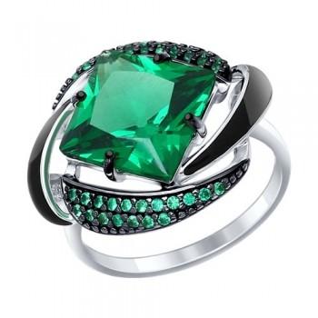 Кольцо из серебра с эмалью с зелёным ситаллом и зелеными фианитами, артикул 92011302