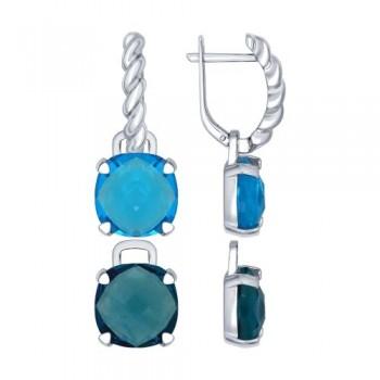 Серьги из серебра с синими и голубыми стеклянными вставками