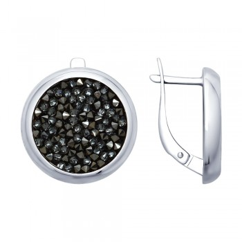 Серьги из серебра с чёрными кристаллами Swarovski, артикул 94022680