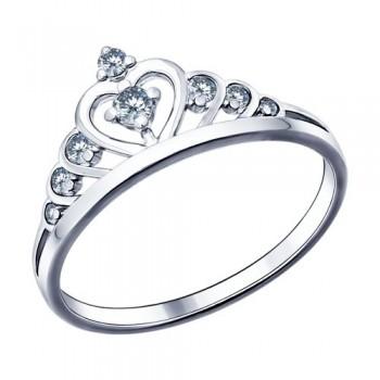 Кольцо из серебра с фианитами, артикул 94011483