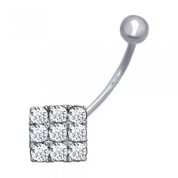Пирсинг из серебра с фианитами, артикул 94060013