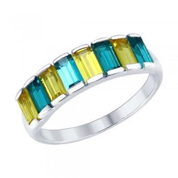 Серебряное кольцо с кристаллами Swarovski, артикул 94012564