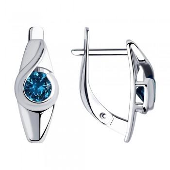 Серьги из серебра с синими топазами, артикул 92021998