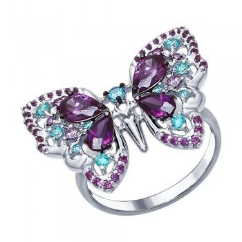 Кольцо «Бабочка» с фианитами, артикул 94012312