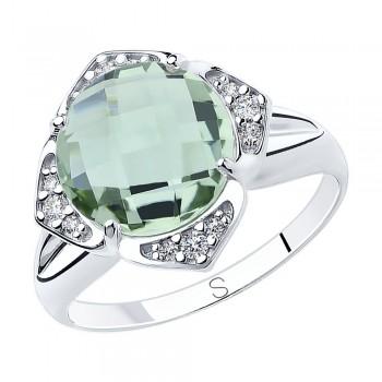 Кольцо из серебра с кварцем и фианитами, артикул 92011818