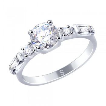 Кольцо из серебра с фианитами, артикул 94012521