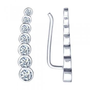 Серьги из серебра с фианитами, артикул 94021653