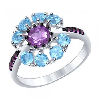 Кольцо из серебра с миксом камней, артикул 92011398