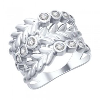 Кольцо из серебра с фианитами, артикул 94012488