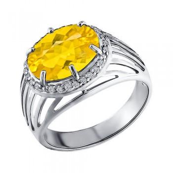 Кольцо из серебра с жёлтым фианитом