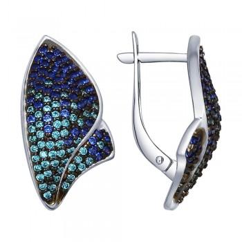 Серьги из серебра с зелеными и синими фианитами, артикул 94022556