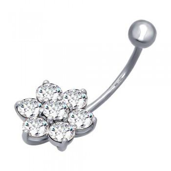 Пирсинг в пупок из серебра с фианитами, артикул 94060039