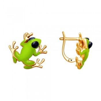 Серьги из золочёного серебра «Лягушки»