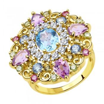 Кольцо из золочёного серебра с фианитами, артикул 93010813