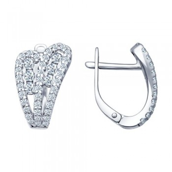 Серьги из серебра с фианитами, артикул 94021683