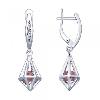 Серьги из серебра с сиреневыми кристаллами Swarovski и фианитами