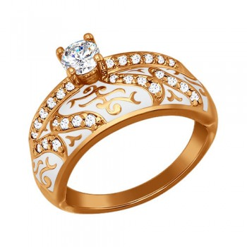 Кольцо из золочёного серебра с эмалью с фианитами, артикул 93010317