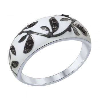 Кольцо из серебра с эмалью с чёрными фианитами, артикул 94012307