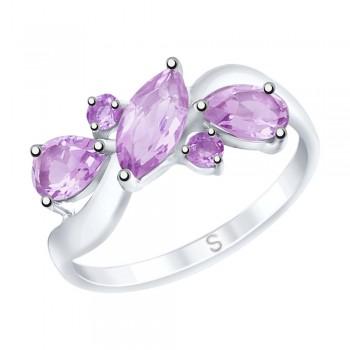 Кольцо из серебра с аметистами, артикул 92011658